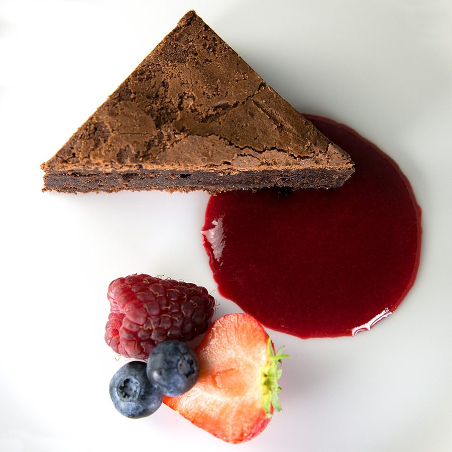 Kalm Kitchen Chocolate Brownie With A Red Berry Or Raspberry Coulis Makanan