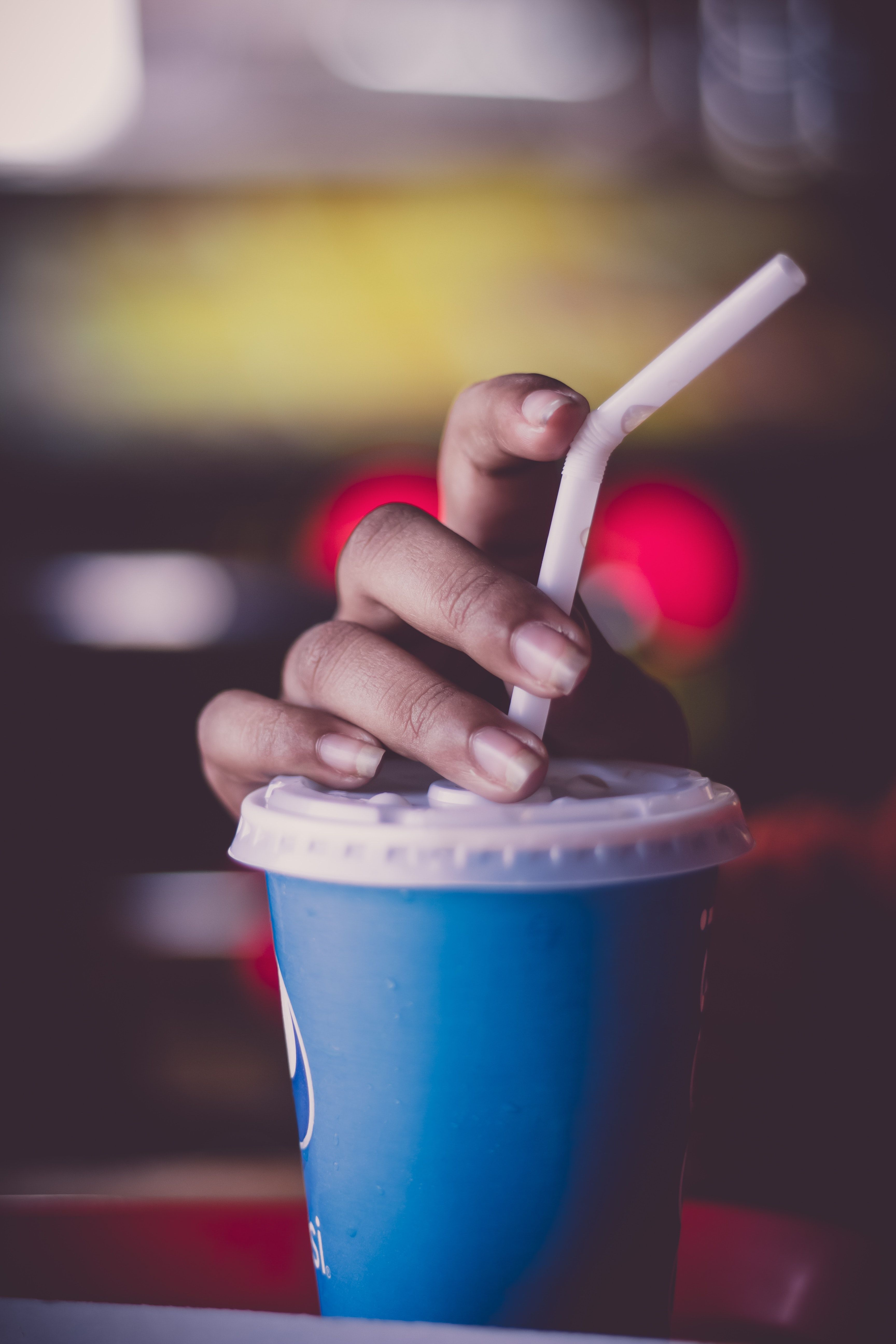Person Holding Cup With Straw, beverage breakfast