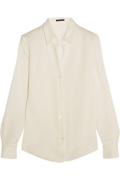 fde3ca5474b5dd THEORY Tenia Silk Crepe De Chine Shirt.  theory  cloth  tops ...