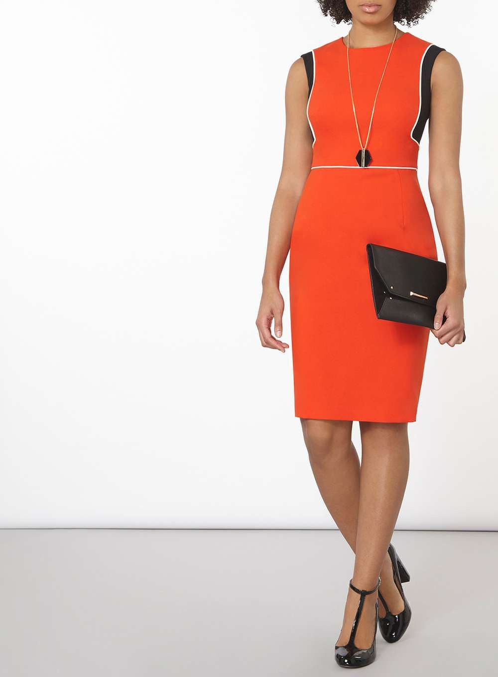 Red Piped Block Dress