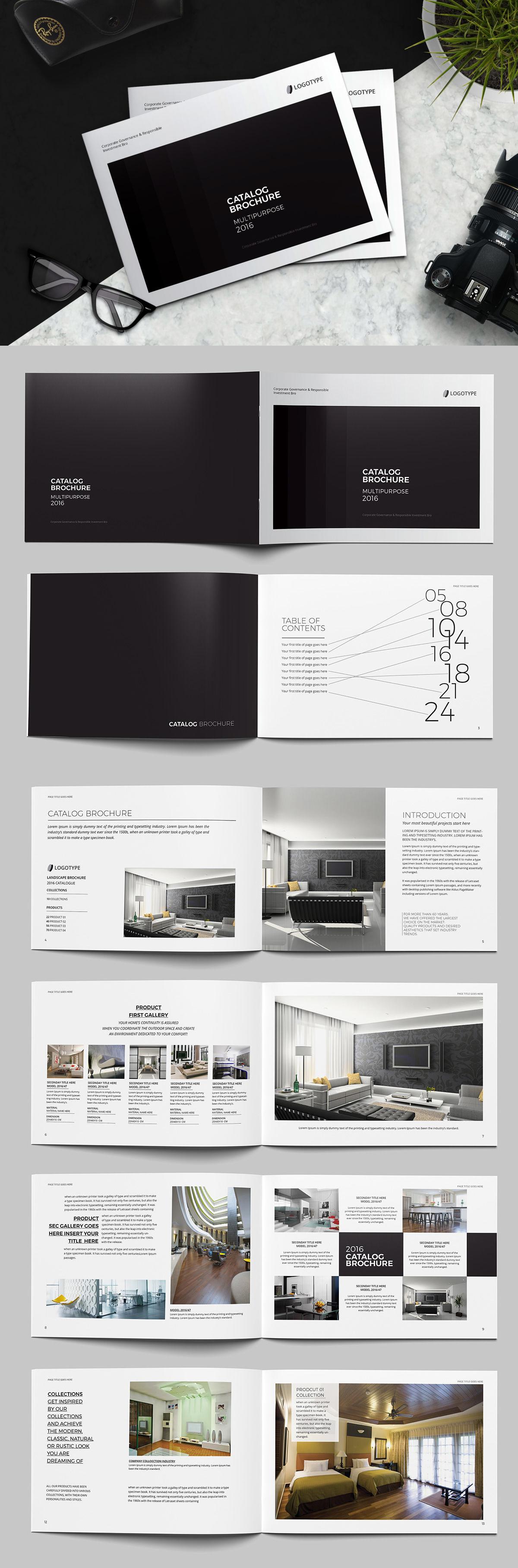 landscape catalog brochure template indesign indd catalog