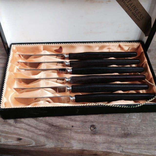 Vintage Peaso Steak Knives Stainless Steel Wood Handle Solingen Germany | Culinary School | Steak Knives & Vintage Peaso Steak Knives Stainless Steel Wood Handle Solingen ...