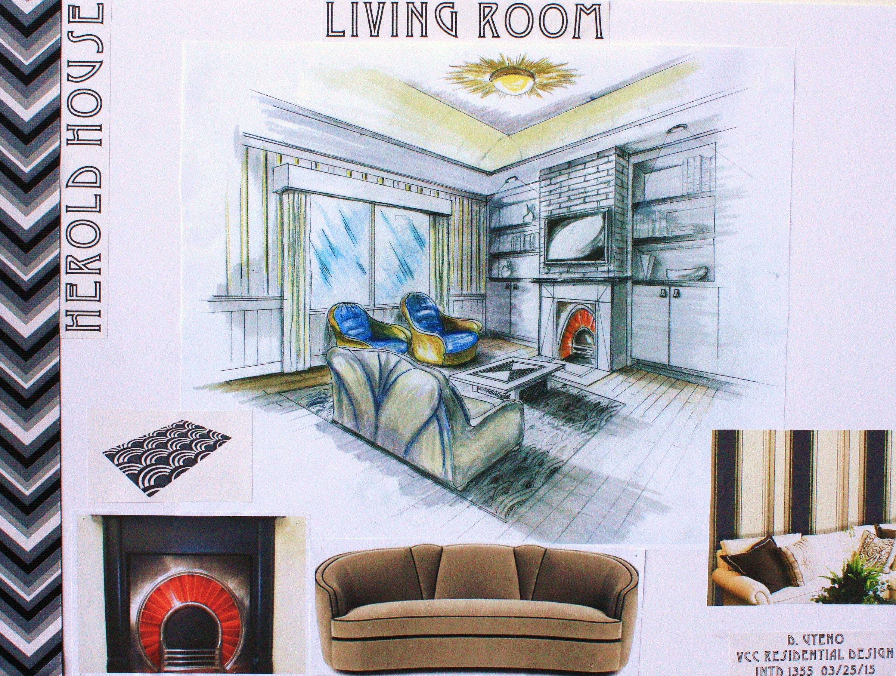 Living room presentation board for VCC Residential Design Rendered