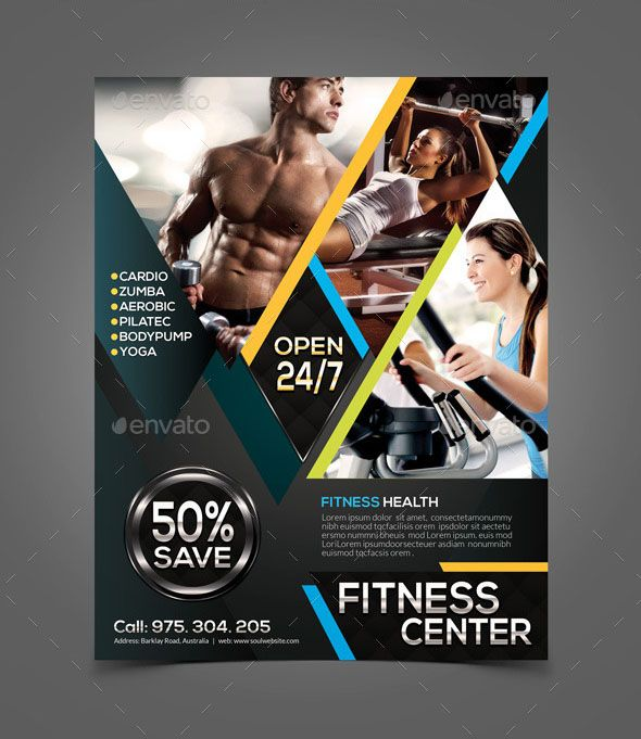 Zumba Fitness Flyer Has A Clean, Modern And Professional Design For  Advertising Of Any Gym And Other Fitness Center. It Is Very Cool Fitness  Flyer Design ...