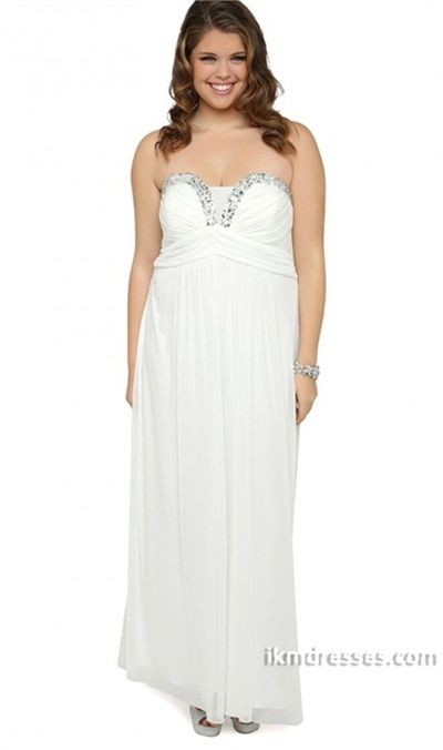 Plus Size Strapless Long Chiffon Prom Dress With Stone Neckline And