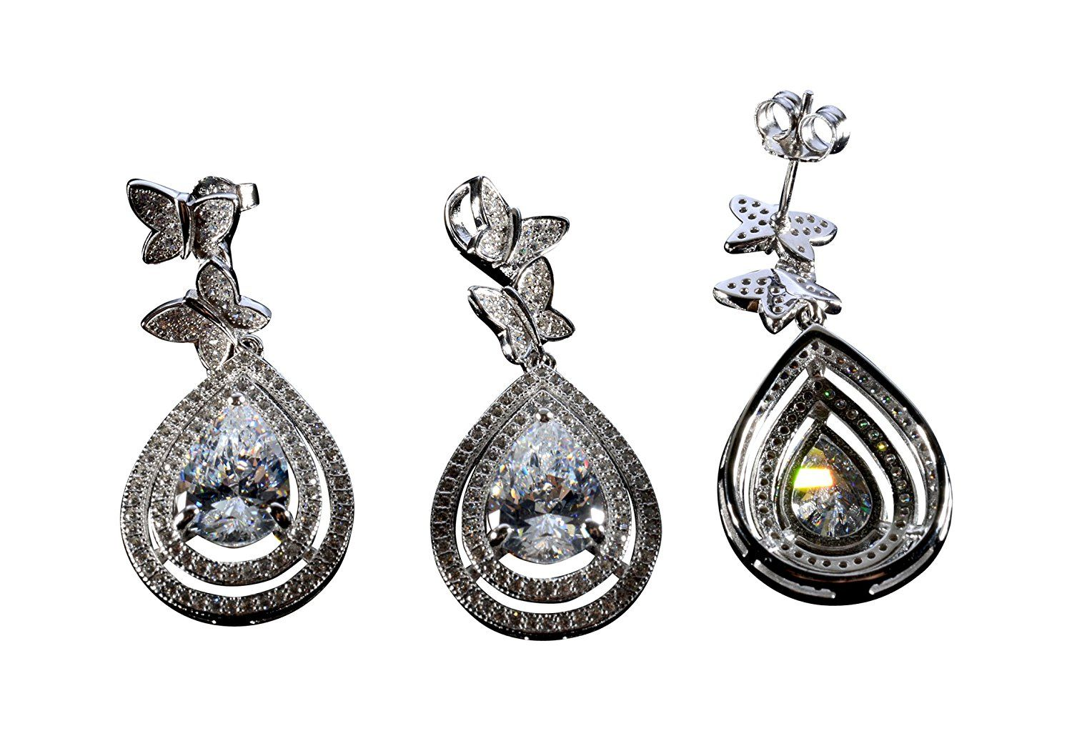 Silver wedding jewelry sets diamond zircon earrings pendant sets