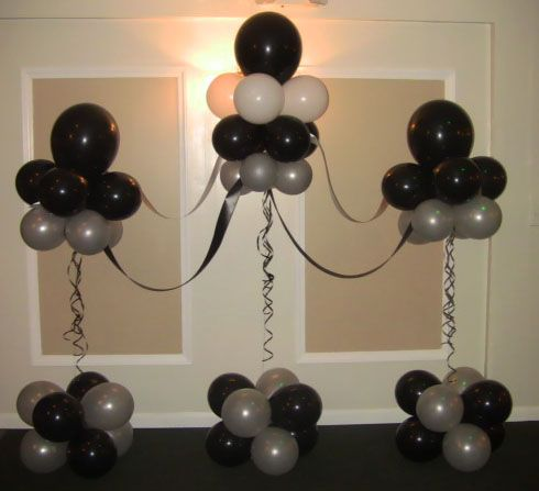 Black White And Silver Balloon Backdrop 3 Black Party