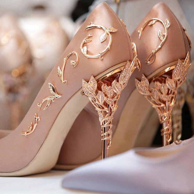 Elegant Silk Pink Pumps | Gold wedding