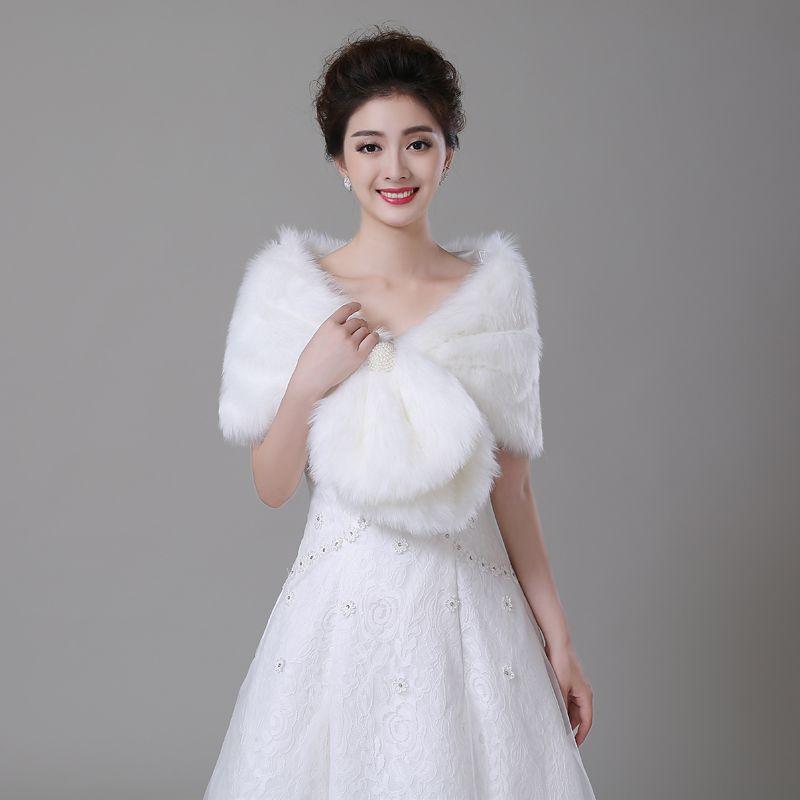Frauen Faux Pelz Winter Herbst Warme Braut Perle Hochzeit Wrap Stola