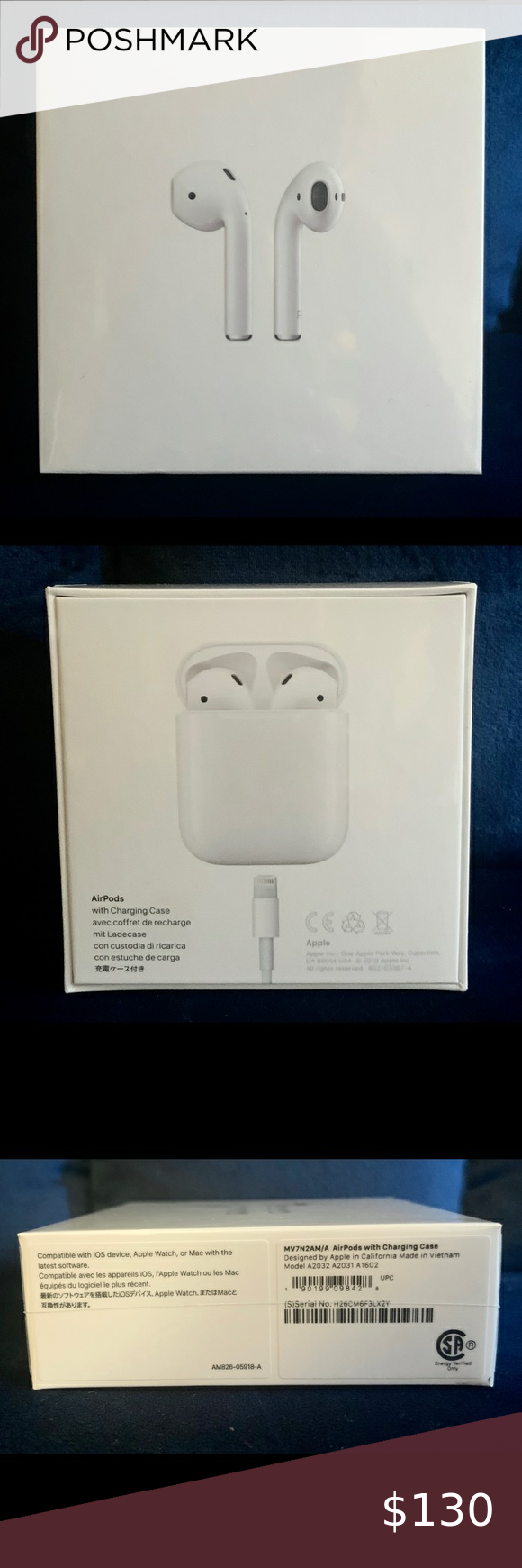 Nib Latest Apple Airpods W Charging Case Brand New Latest Model Still Sealed In Original Box Designed By Apple Automatically On Apple Case Things To Sell