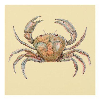 Small Wall Panel, Watercolor Crab Design Panel Wall Art | Panel wall ...