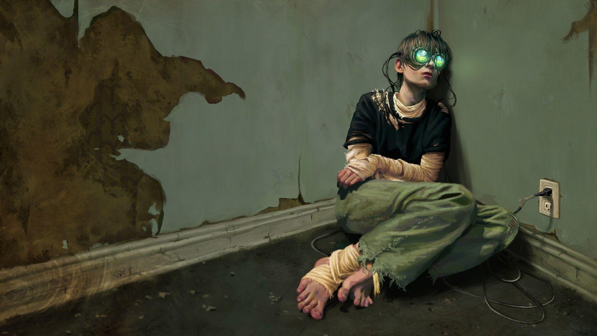 Dystopian Sad Cyberpunk Virtual Reality Wallpaper