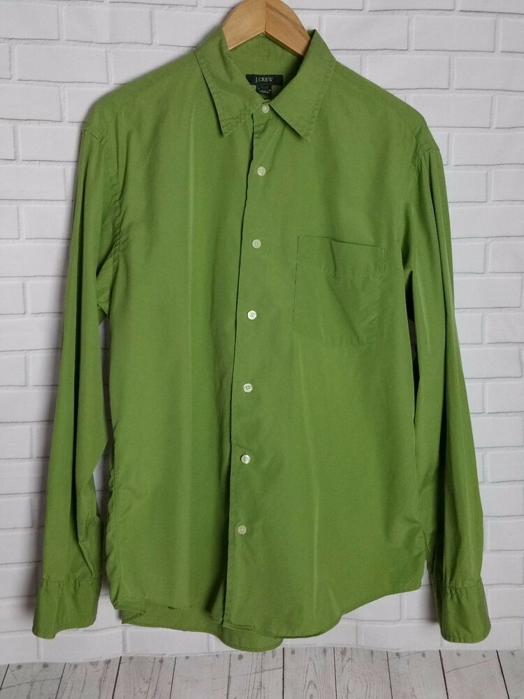 7650fb3f26a J. Crew Men's Olive Green Long Sleeve Button Up Shirt 100% Cotton ...