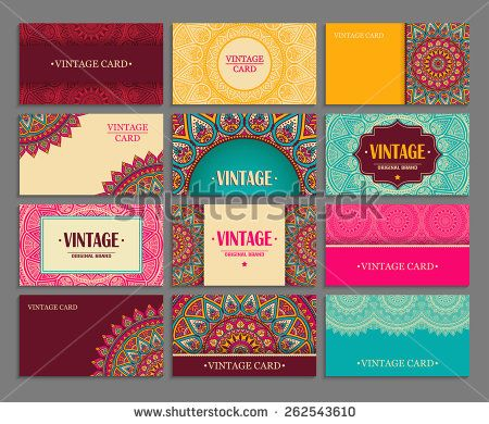 Business Card Collection Vintage Decorative Elements Hand Drawn