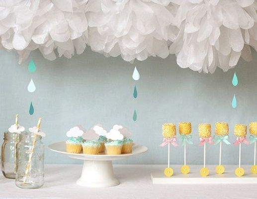 Spring Baby Shower Idea   Tulle Balls, Paper Clouds And Marshmallow Flowers
