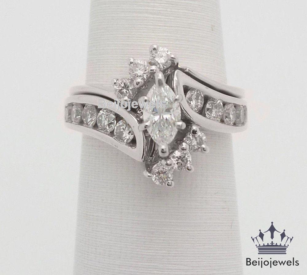 14k white gold 160 ct marquise diamond engagement wedding