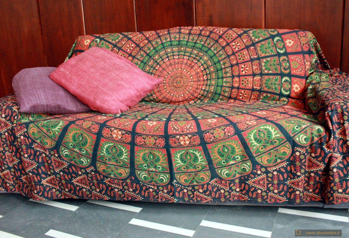 Divano Etnico ~ Telo copri divano etnico in cotone indiano stampato fondo blu