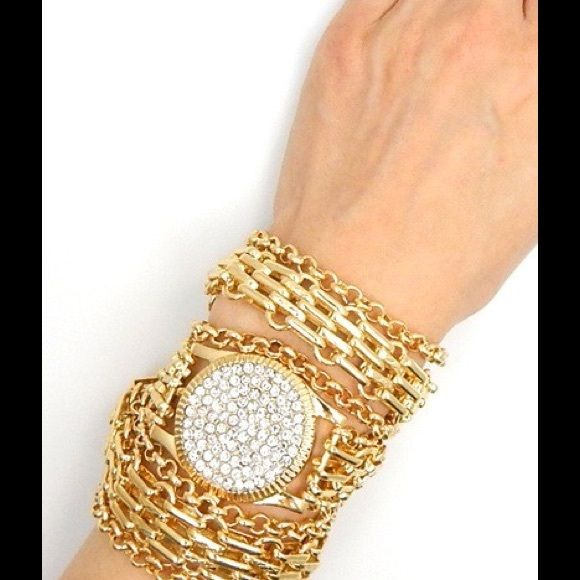 Gold Studded Watch Bracelet 21 INCH MULTI CHAIN STUDDED WATCH BRACELET Jdore Jewelry Bracelets