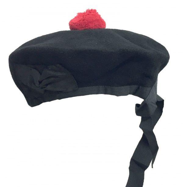baa78d05f31 Plain Black Balmoral Bonnet Hat Beanie-Scottish Highland Hat