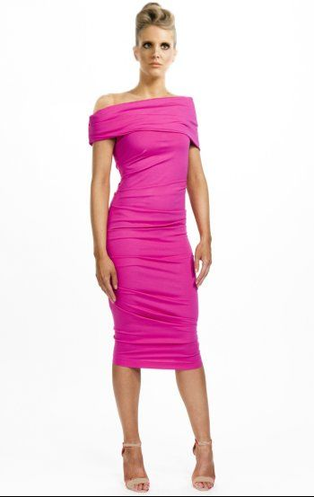 Kevan Jon Celeste Dress In Fuchsia Pink Great For Weddings And The Races Www Pushkafashion Co Uk