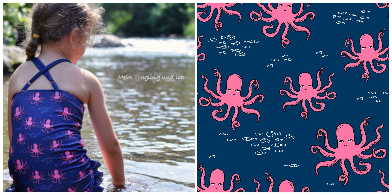 Badeanzug für Mädchen aus Sport Lycra - Oktopus Stoff ist von ...