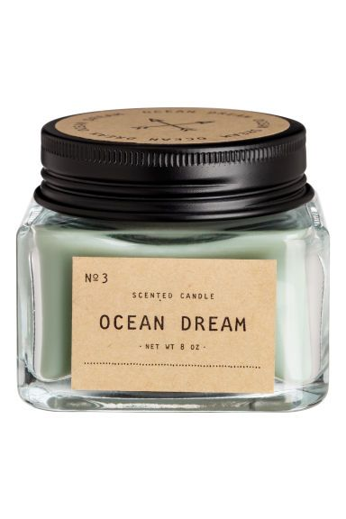 Scented Candle in Glass Holder - Light khaki green/Ocean Dream - Home All | H&M US
