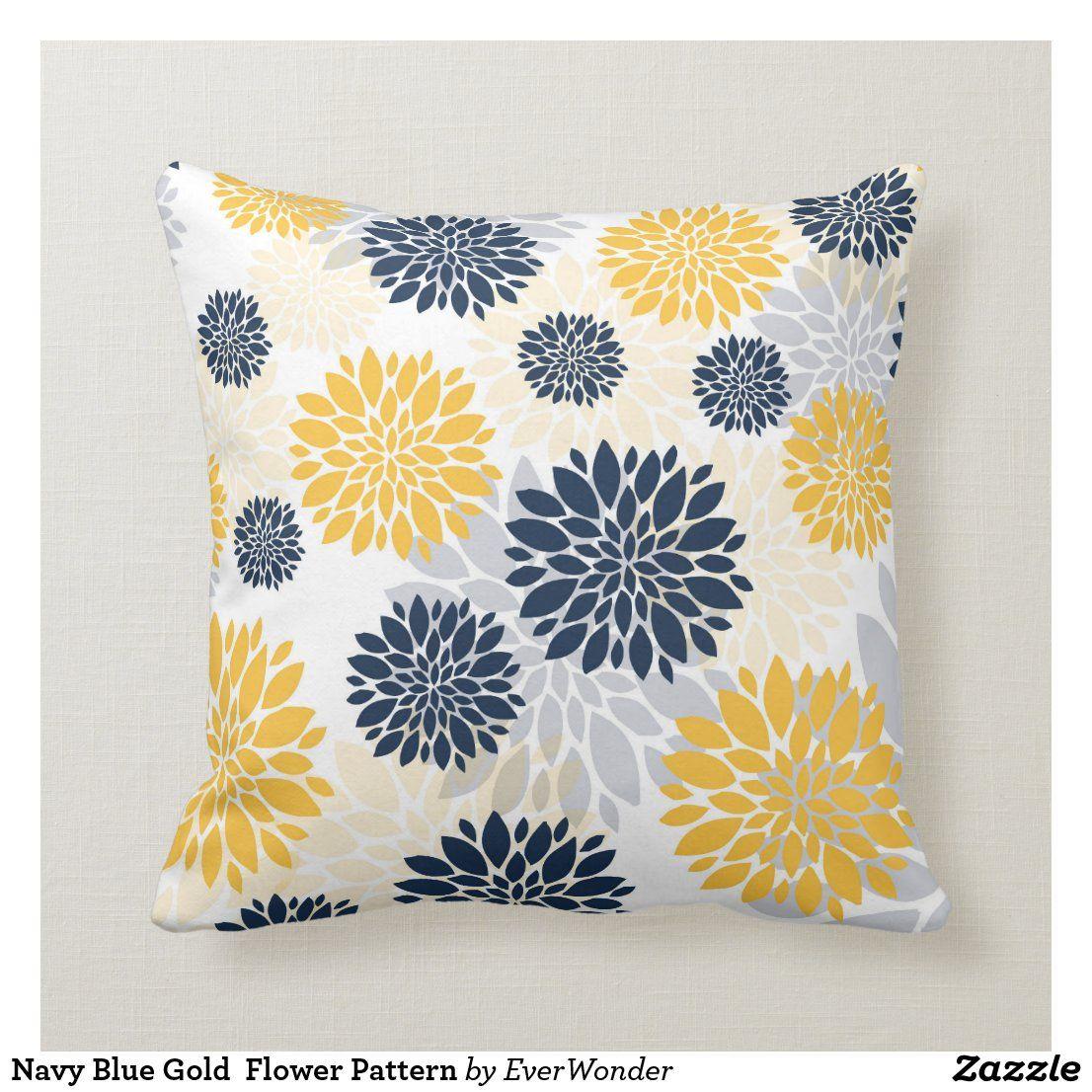 Navy Blue Gold Flower Pattern Throw Pillow Zazzle Com In 2020 Patterned Throw Pillows Throw Pillows Gold Flowers