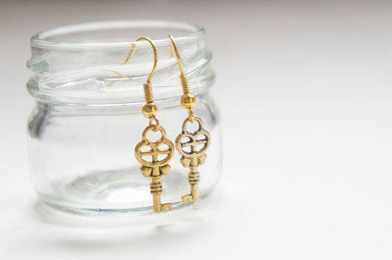 Tiny Heart Key Dangle Earrings. $1.99, via Etsy.
