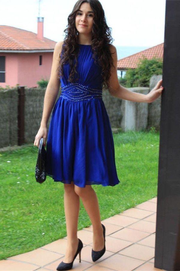 Cheap Royal Blue Chiffon A Line Short Handmade Homecoming Prom