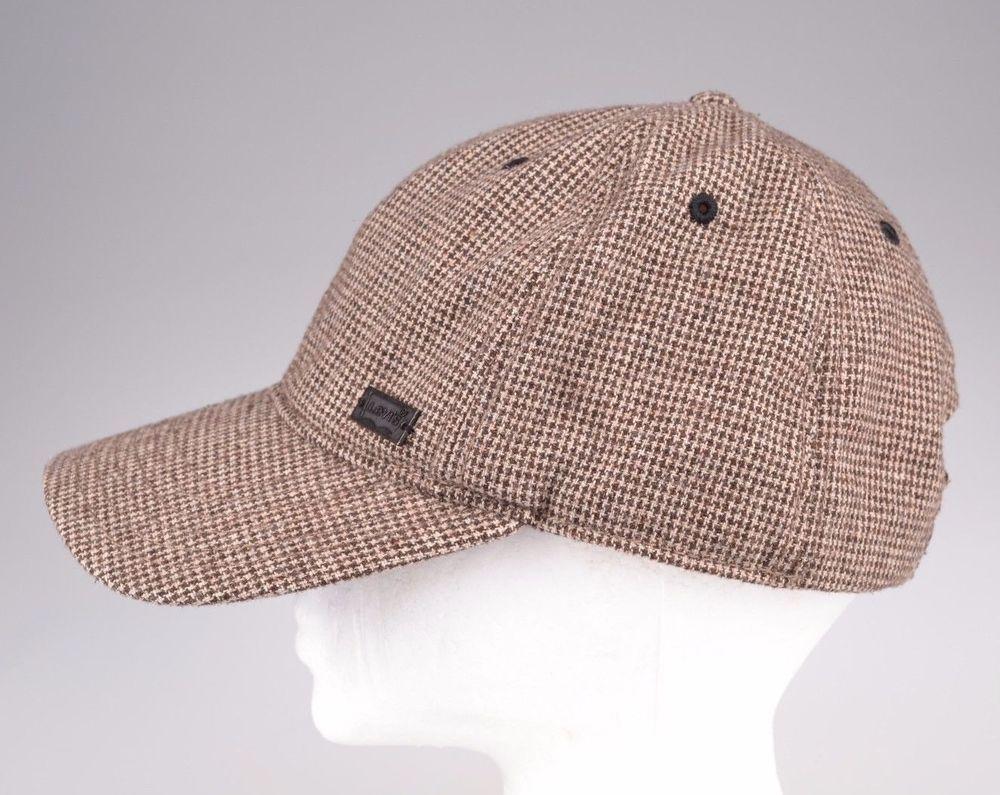 Levi Baseball Cap Hat Unisex Brown Tweed Wool Blend Houndstooth Adjustable   Levis  BaseballCap 3a049829d0a0