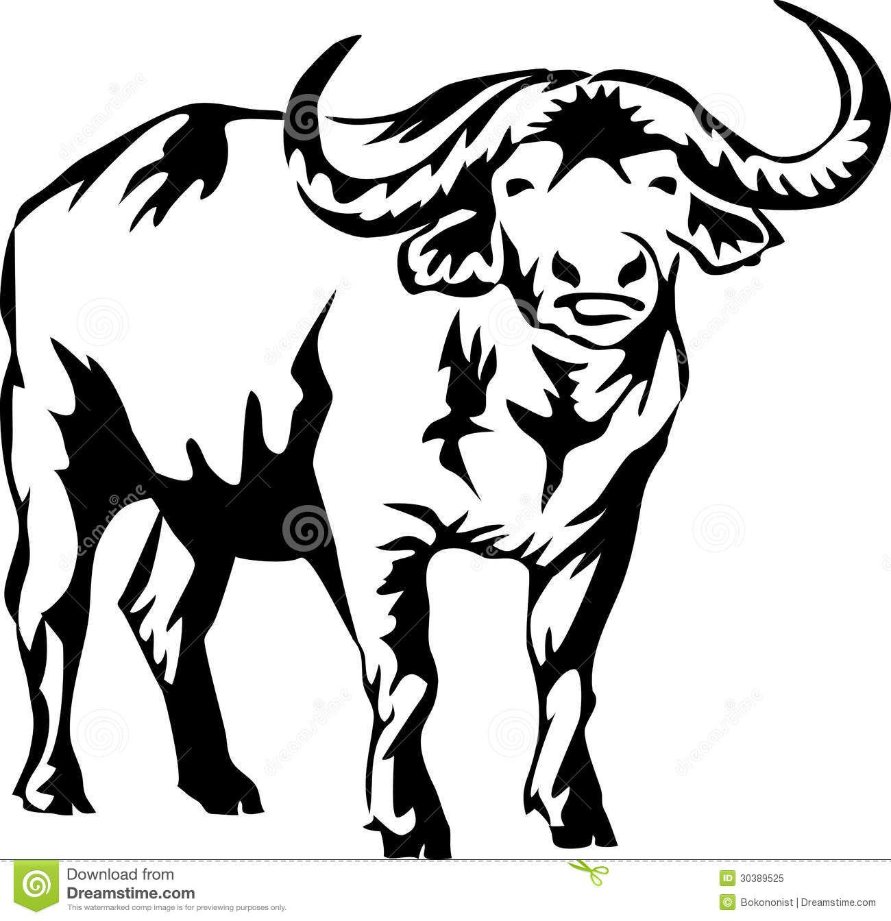 Illustration About Black And White Illustration Of The Water Buffalo Illustration Of Bush Horn African 30389525 Water Buffalo Animal Stencil Buffalo Art