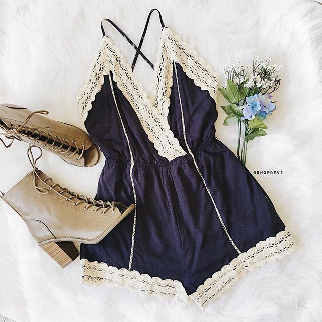 """Cadence Crochet Trim Romper • @shopdevi  shopdevi.com 