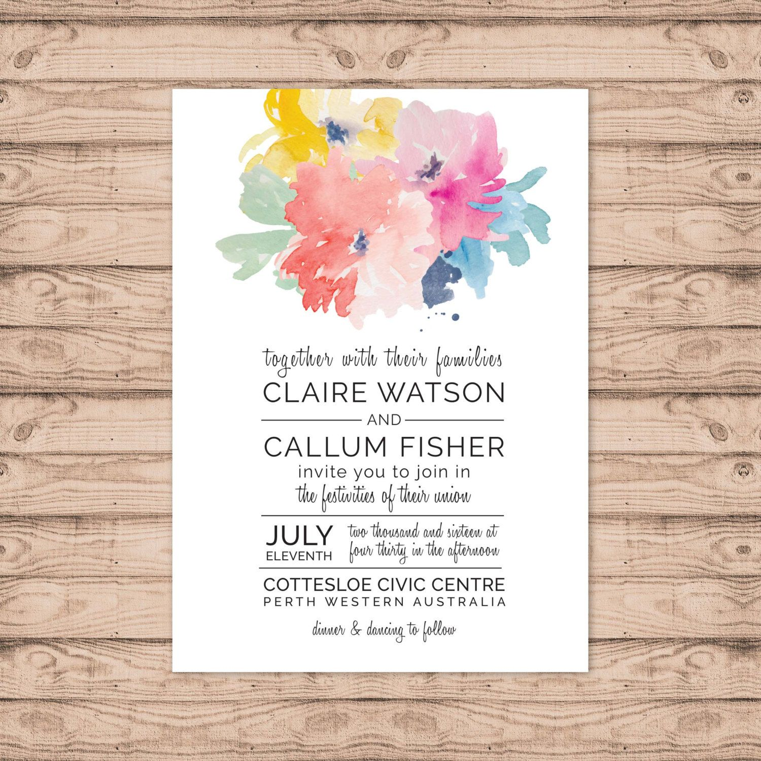 Floral Wedding Invitation   Print At Home File Or Printed Invitations    Modern Floral Watercolour Wedding
