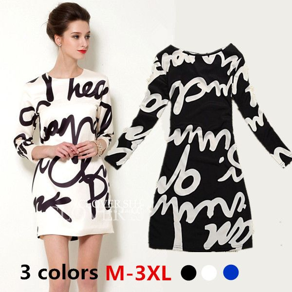 Cheap print brand, Buy Quality dress floral print directly from China printed business christmas cards Suppliers:  2015 new arrive     New Arrival 2014 Spring Black and White Letter Women Winter Dress Woman Long Sleeve Print Plus Size