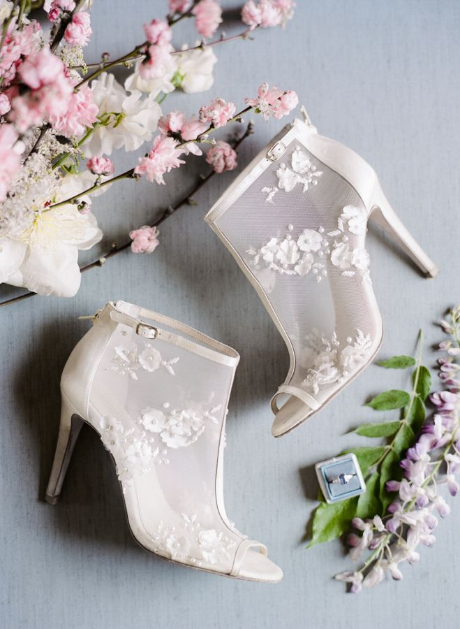 f4cf633ef21 Floral embellished illusion cage stilettos  http   www.stylemepretty.com