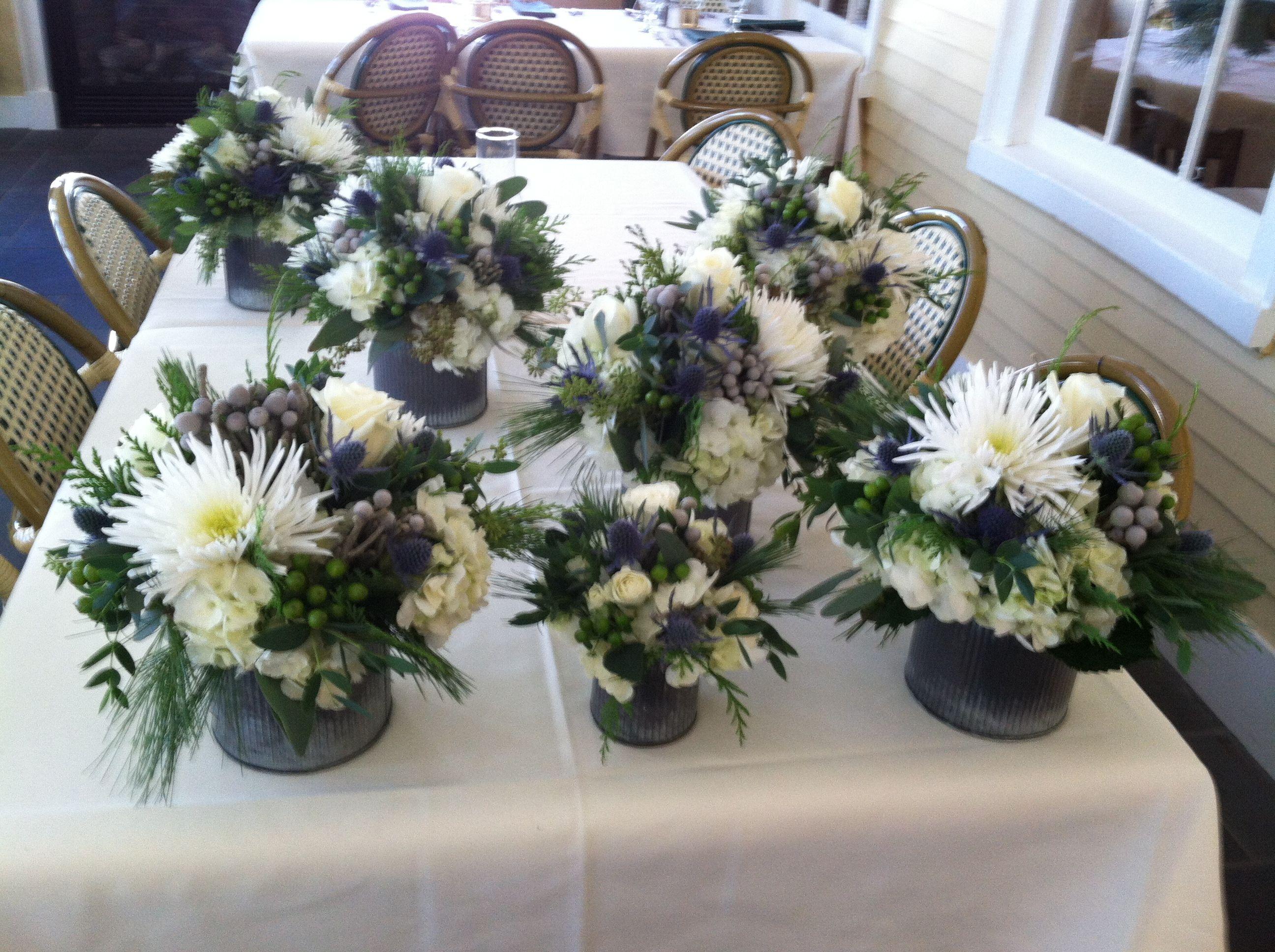 Winter wedding centerpieces white hydrangeas