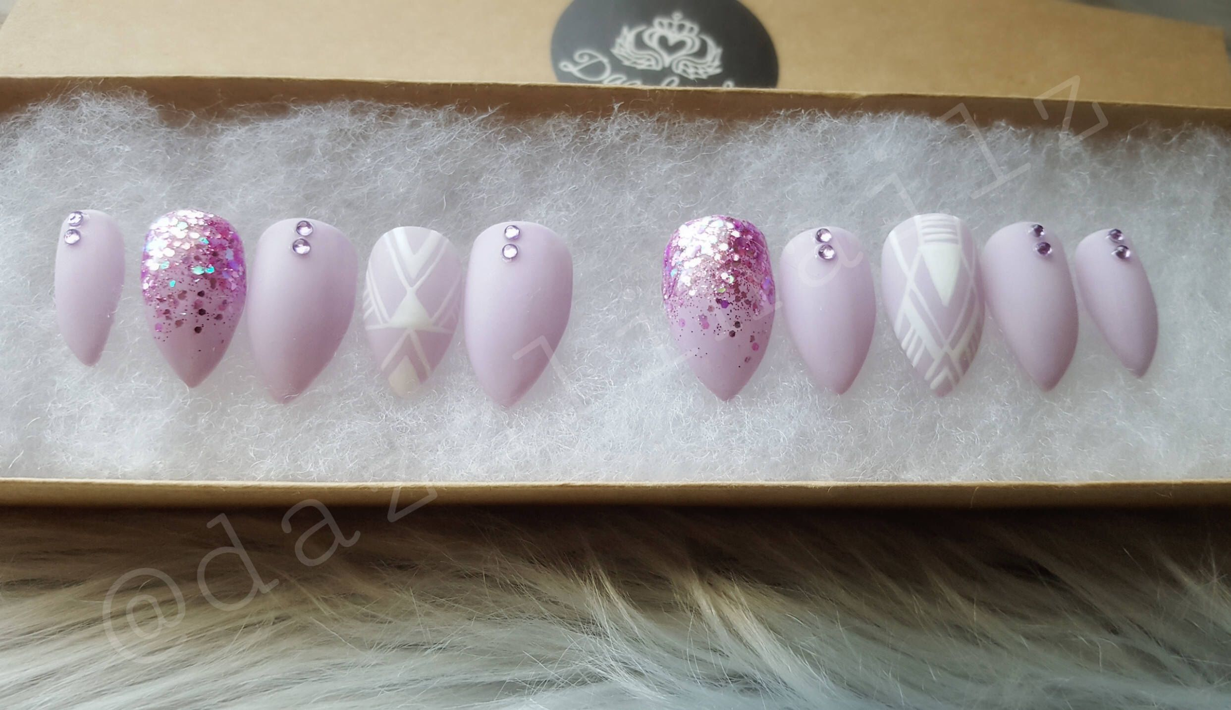 Lilac glitter press on nails/fake nails/false nails/faux nails/glue ...