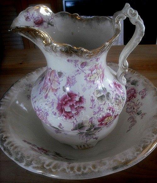 antique 1893 wheeling pottery labelle china pitcher and bowl set wash basins pinterest. Black Bedroom Furniture Sets. Home Design Ideas