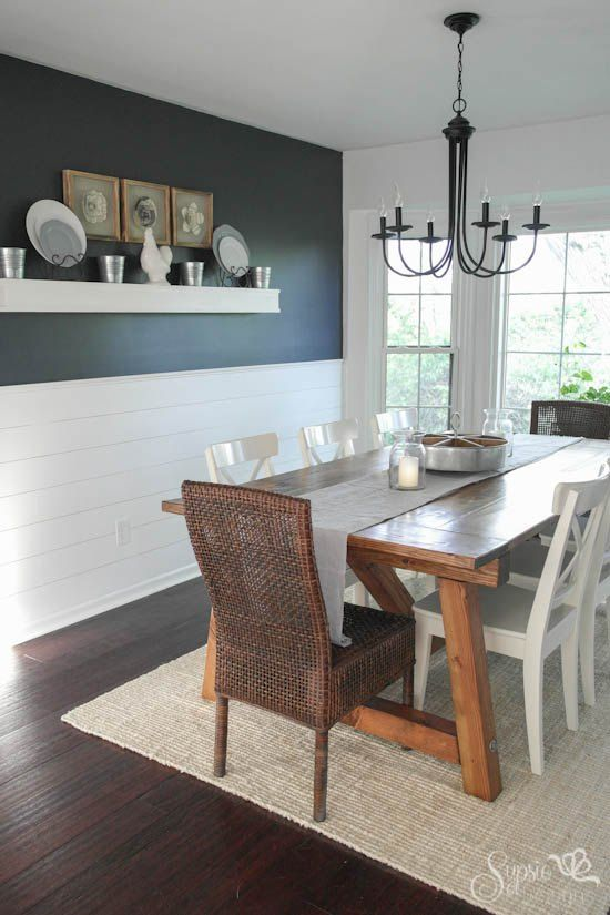 Farmhouse Table And Dining Room Makeover. Benjamin Moore Hale Navy
