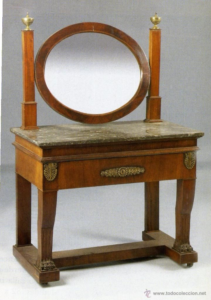 tocador francs de poca imperio siglo xix en madera de caoba tapa de mrmol