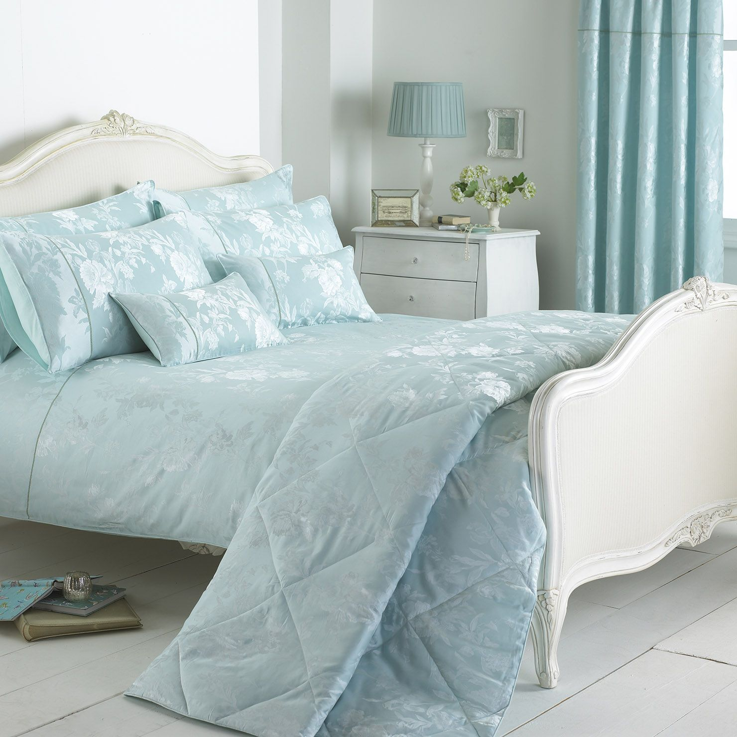 Bedspread Duck Egg Blue: Paoletti Balmoral Double Duvet Cover Set, Duck
