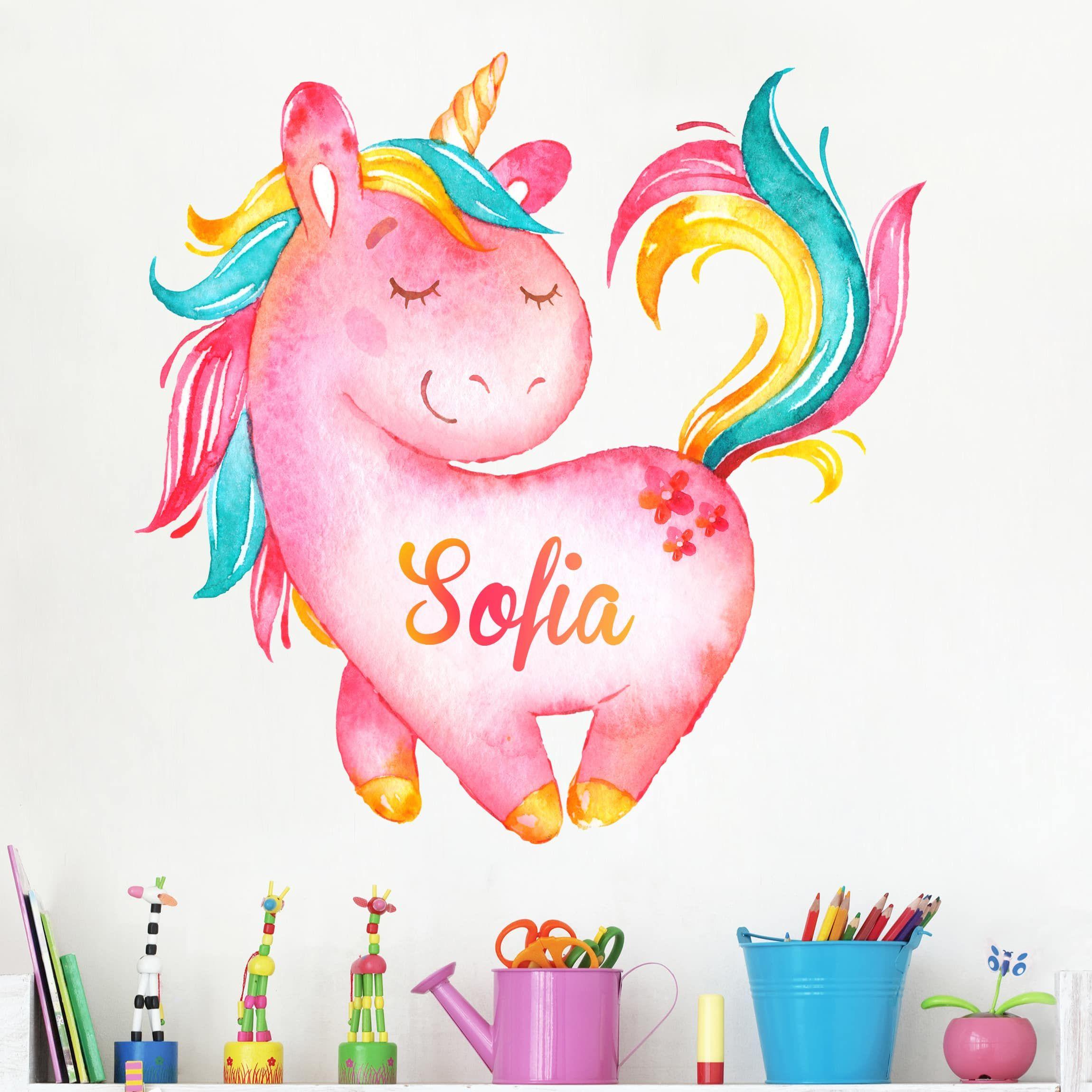 Stickers Parete Personalizzati.Adesivo Murale Unicorno Rosa Con Testo Personalizzato Nel