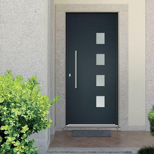 Porte D Entree Aluminium Emalu Vegas Disponible En Gris Ou Blanc De 80cm A 100cm Porte Entree Porte Entree Aluminium Porte D Entree Entree Maison Moderne