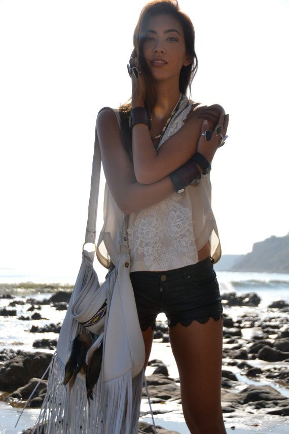 NATIVE NOMAD Weekend/Tote Boho Bag /// Bone Black or by luxdivine