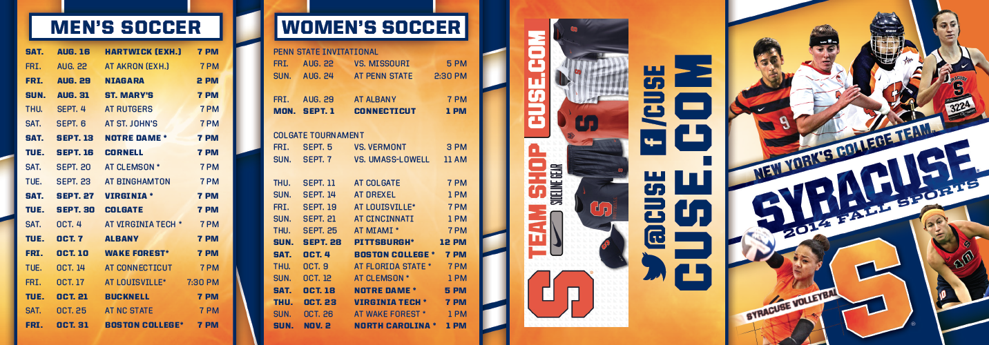 Syracuse Fall Sports Schedule Card (2014) (With images