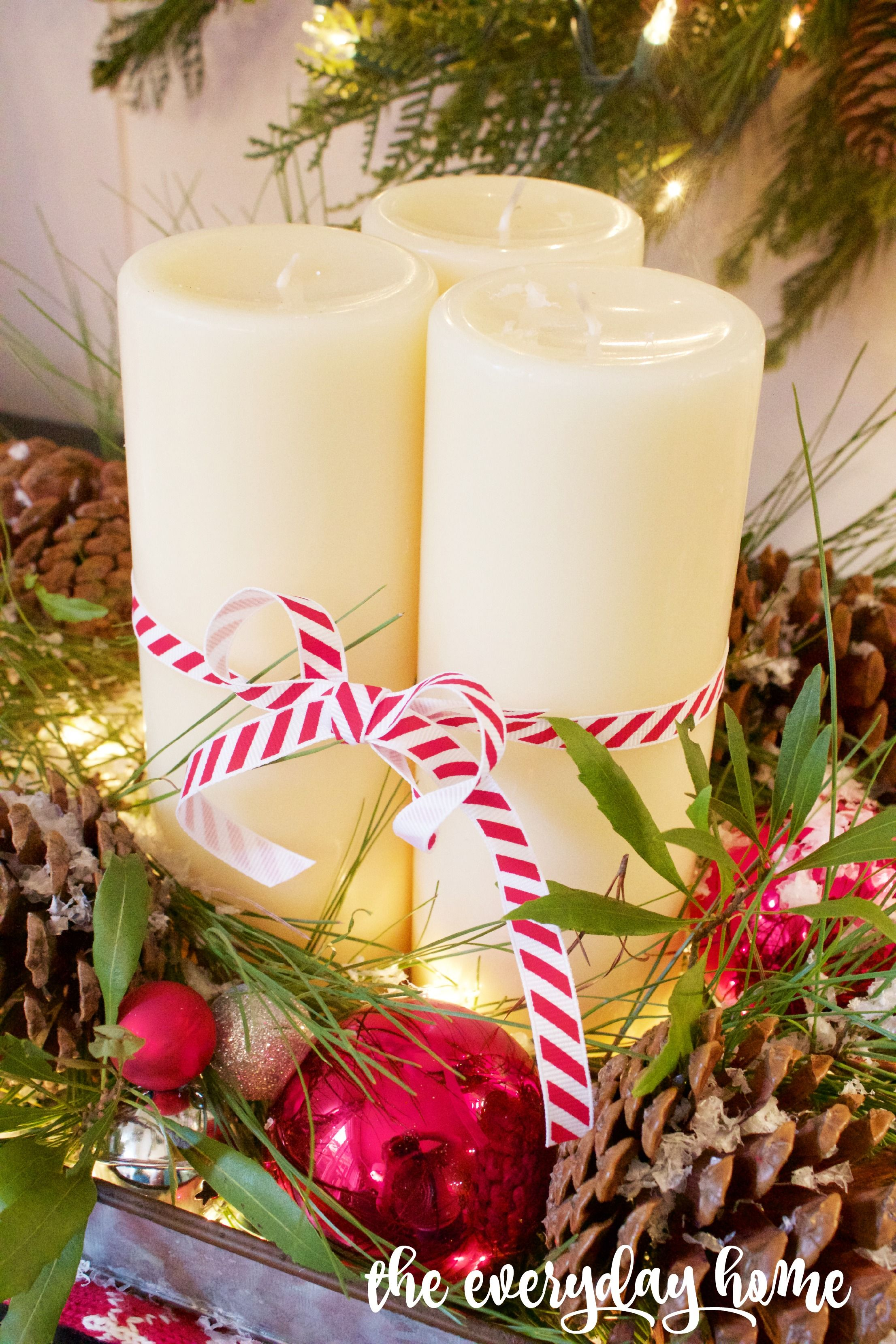 Christmas candles wonderful christmas candle decoration ideas - A Farmhouse Style Christmas Vignette With A Diy Pinecone And Candle Tray