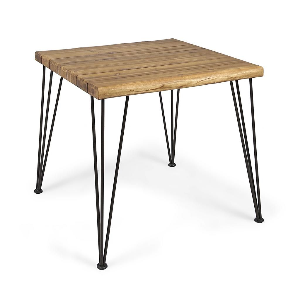 Noble House Maverick Industrial Square Teak Brown Acacia Wood And