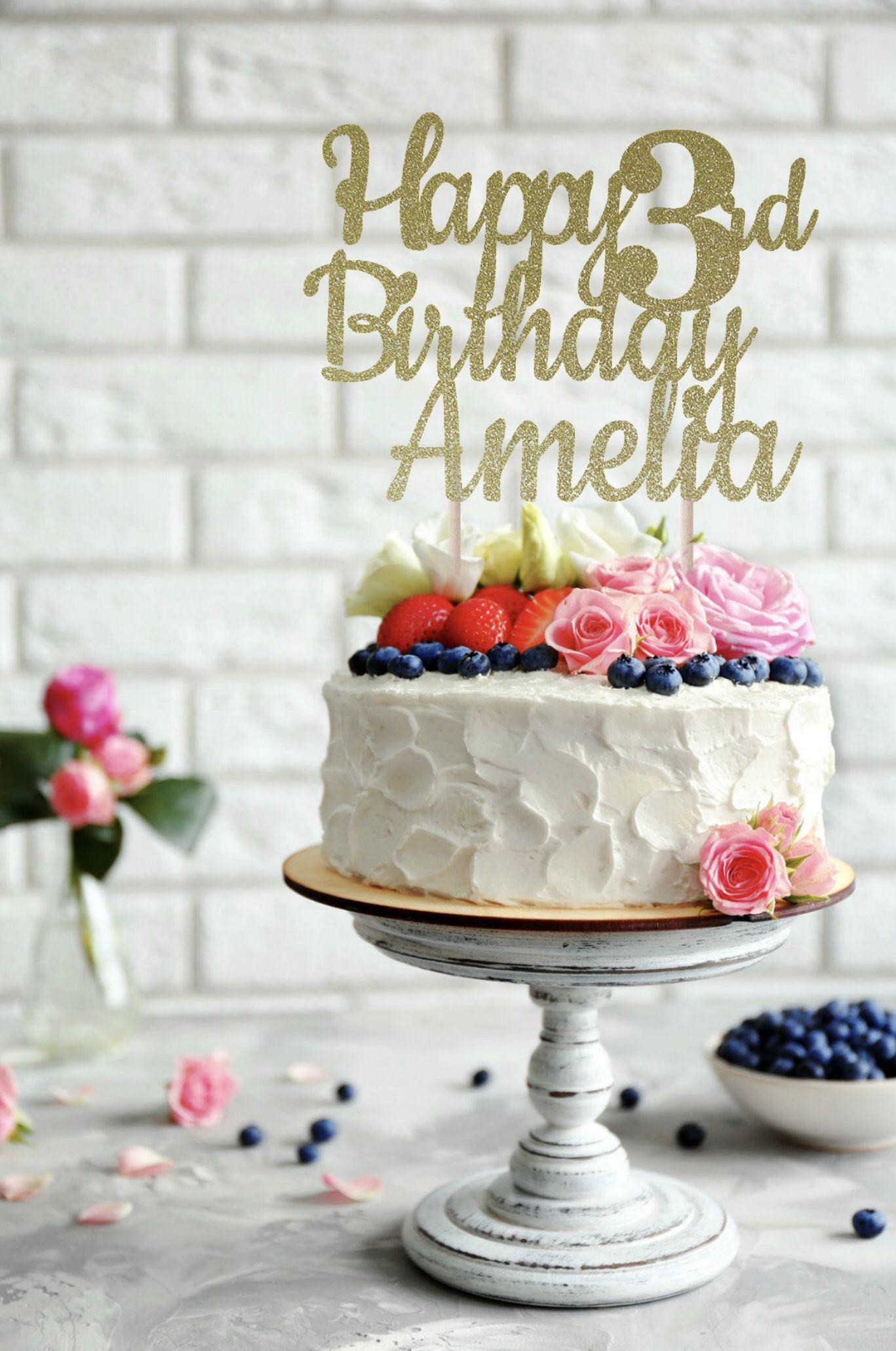ANY NAME Happy Birthday Cake Topper 3rd Custom