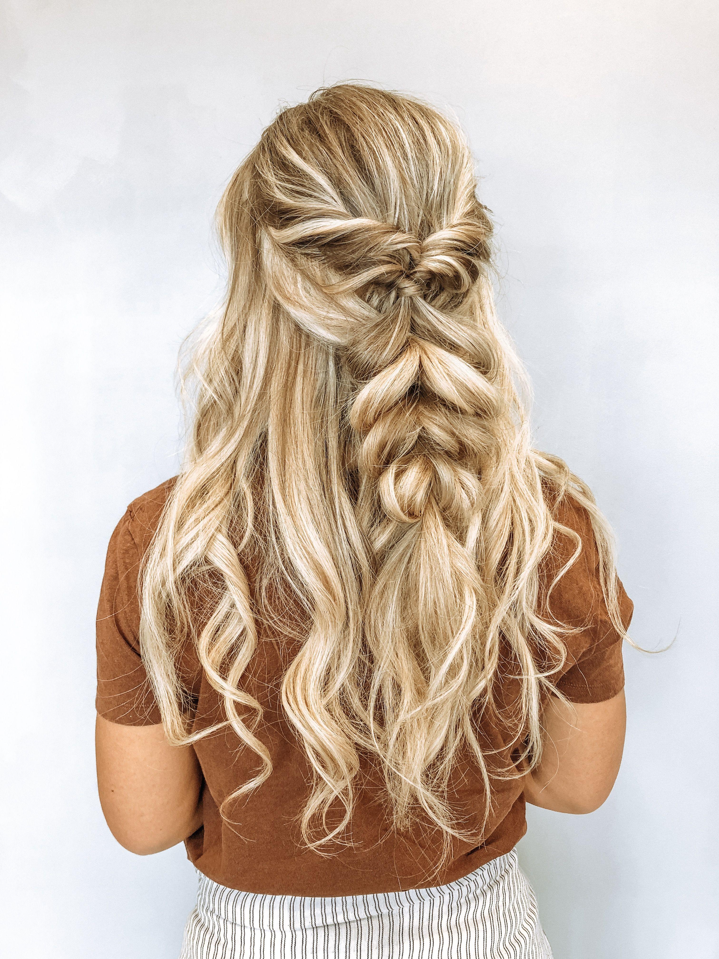 braids, half up half down, bridal hair, braid inspo, wedding hair, prom hair, beach waves, curls ...