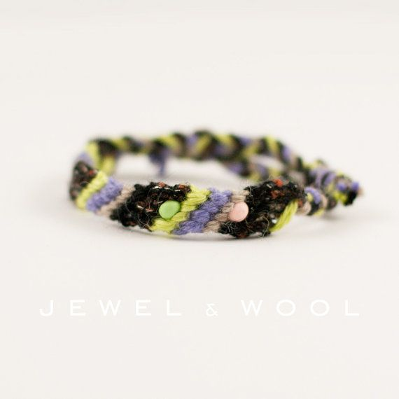 Friendship Bacelet // Lime Lilac Creme Black by jewelandwoolwool, €11.00